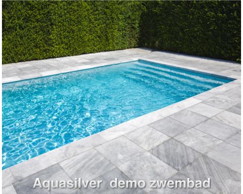 Rechhoek zwembad inlooptrap 400 x 350 x 150 - Zwembad betegeld grijs ...